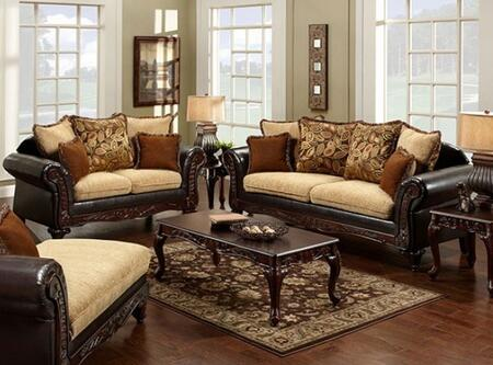 Doncaster Collection SM7430-SL 2-Piece Living Room Set with Stationary Sofa and Loveseat in Tan Fabric and Espresso