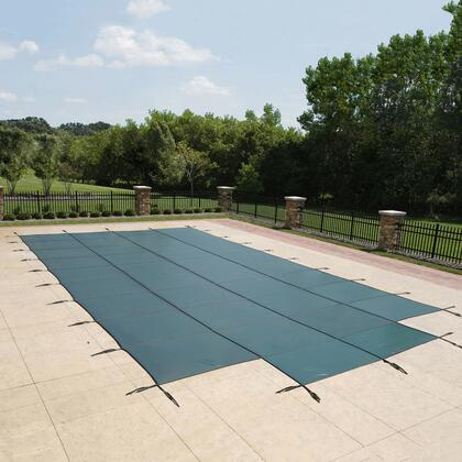 WS307G Green 18-Year Mesh Safety Cover For 12-Ft X 24-Ft Rect Pool W/ Center End