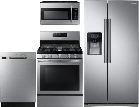 4-Piece Kitchen Package with RS25J500DSR 36 inch  Freestanding Side by Side Refrigerator  NX58H5600SS 30 inch  Freestanding Gas Range  ME18H704SFS 30 inch  Over the Range