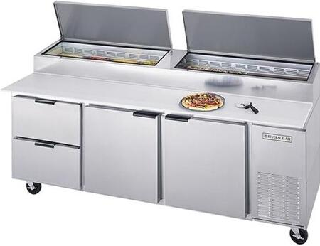 Dpd93-2 93 Deli/pizza Series Two Drawers  Two Door Pizza Prep Table   39.8 Cu.ft. Capacity  Stainless Steel Exterior And Side Mounted