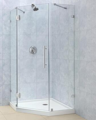 SHEN-2236360-01 PrismLux 36 5/16 by 36 5/16 Frameless Hinged Shower Enclosure  Clear 3/8 Glass Shower  Chrome
