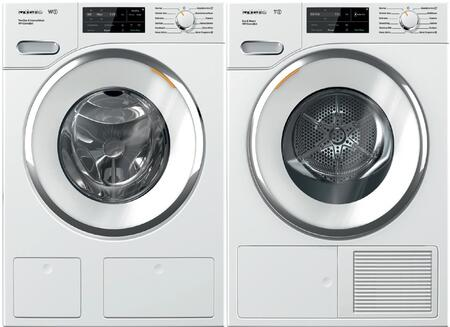 White Front Load Laundry Pair with WWH860WCS 24 inch  Front Load Washer and TWI180WP 24 inch  Electric Dryer
