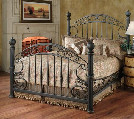 Chesapeake 1335BQR Queen Sized Bed with Headboard  Footboard  Side Rails and Metal Post Kit and Finials in Rustic Old Brown