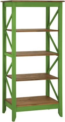 """Jay 1.0 Collection CS33004 32"""" Solid Wood Bookcase with 4 Shelves and Lifted Base in Green"""