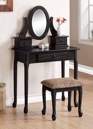 Jonas 90151 32 inch  Vanity Set with 3 Drawers  Mirror  Cushioned Stool  Cabriole Legs and Decorative Hardware in Black