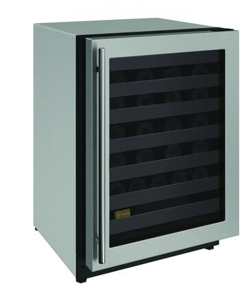U-Line U2224WCS00A, 2000 Series 24 Inch Built-In and Freestanding Single Zone Wine Cooler with 43 Bottle Capacity in Stainless Steel