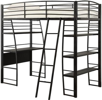 Escalon Collection 461082 Twin Size Loft Bed with Full Length Guardrails  Built-In Desk  4 Shelves  Slat Kit Included and Steel Metal Frame Construction in