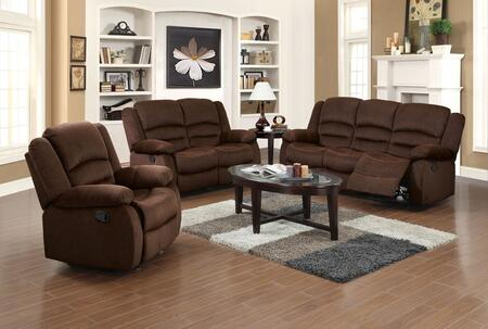 Bailey Collection 51030SET 6 PC Living Room Set with Sofa + Loveseat + Recliner + 3 PC Table Set in Chocolate