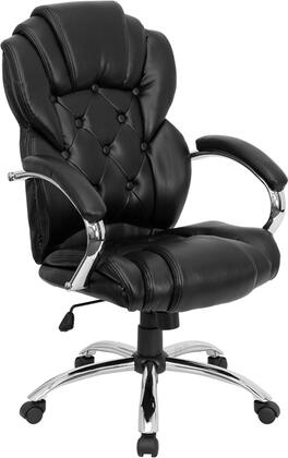 GO-908A-BK-GG High Back Transitional Style Black Leather Executive Office