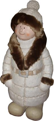 QWR584 28 Boy with White/Brown Coat and Hat Standing