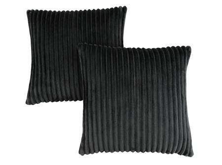 I 9357 18 inch  x 18 inch  Pillow with Textured Rib Cover in Black - 2