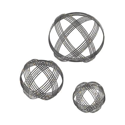 Warp Collection 3138-274/S3 Set of 3 Wall Decor with Geometric Design and Metal Construction in Soldered Raw Iron