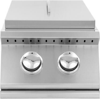 SIZSB2-NG Sizzler Series Natural Gas Double Side Burner with Brass Burners  205 sq. in Cooking Surface  Removable Stainless Steel Lid  in Stainless