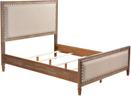 Cambridge LUX-K2501-OGRY King Platform Bed with Turned Legs  Nail Head Accents and Fabric Upholstery in Oak