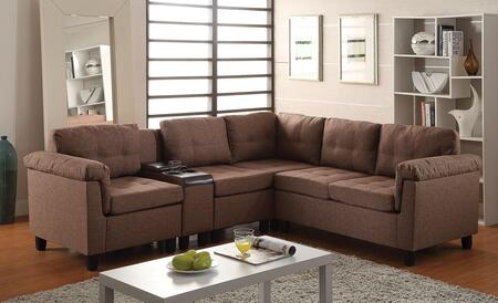 Cleavon Collection 51530 Reversible Sectional Sofa with 2 Chairs  Cup Holder Console  Wedge  Loveseat  Espresso PU Leather and Fabric Upholstery in