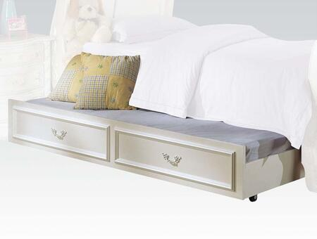 Pearl Collection 01008TRN 76 inch  Trundle with Casters  Metal Hardware and Molding Details in Pearl White