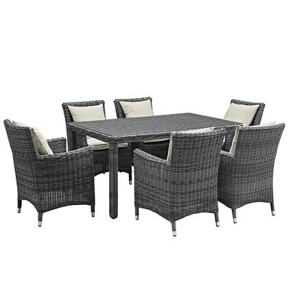 Summon Collection EEI-2334-GRY-BEI-SET 7-Piece Outdoor Patio Sunbrella Dining Set with Dining Table and 6 Armchairs in Antique Canvas
