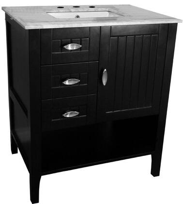 7616-ES-WH 30 inch  Single Sink Vanity in Espresso with Marble Top in