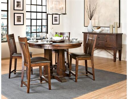 Hayden HY-TA-5454460G-RSE-C 54 inch  Dining Room Round Table and 4 Chairs with  Distressed Detailing in