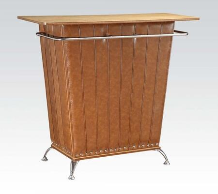 71565 Zain Bar Table with Oak Finish Top  Brown PU Upholstered Sides and Chrome