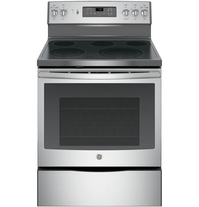GE 5.3 Cu. Ft. Self-Cleaning Freestanding Electric Convection Range Stainless Steel JB700SJSS