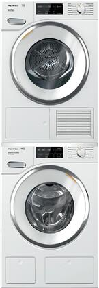 White Stacked Front Load Laundry Pair with WWH860WCS 24 inch  Front Load Washer  TWI180WP 24 inch  Electric Dryer
