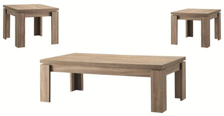 701646 3-Piece Occasional Table Set with Coffee Table and 2x End Tables in Weathered