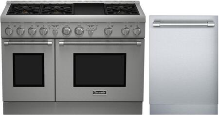 2-Piece Stainless Steel Kitchen Package with PRG486GDH 48
