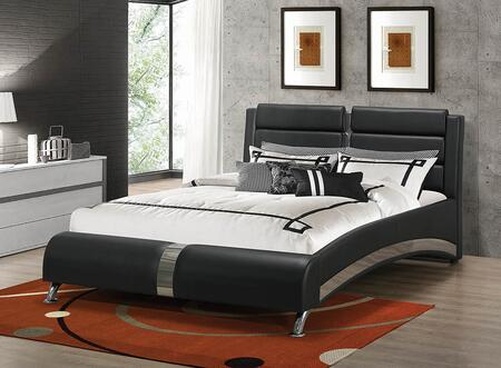 Jeremaine Collection 300350KW California King Size Bed with Leatherette Upholstery  Decorative Chrome Details and Sturdy Hardwood Frame in