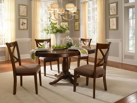 DESSI6150 Desoto 42 inch  Oval Pedestal Table with One 18 inch  Leaf  Dual Ratchet Gear and Constructed in Solid Asian Hardwood in Burnished Sienna & Distressed Black