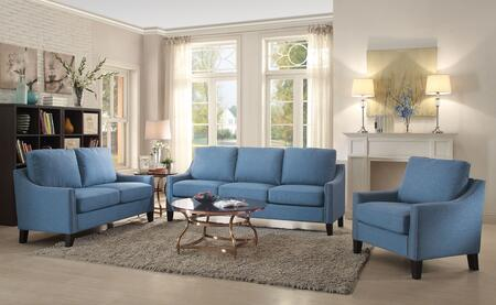 Zapata Collection 53550SET 3 PC Living Room Set with Sofa + Loveseat + Chair in Blue