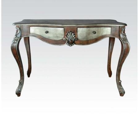 Kelsey Collection 97233 47 inch  Console Table with 2 Drawers  Metal Hardware  Curved Top  Scrolled Apron  Shell Ornamental Decor and Queen Anne Legs in Bronze and