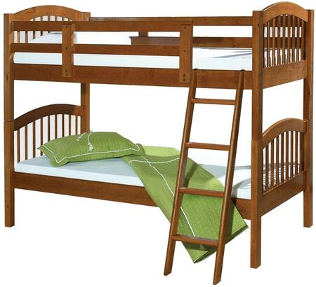 Manville Collection 37115B Twin Over Twin Size Bunk Bed with Attached Ladder  Slat System Included and Brazil Taeda Pine Wood Construction in Honey Oak