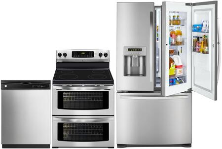 4-Piece Stainless Steel Kitchen Package with 73063 French Door Refrigerator  97613 Freestanding Double Oven Electric Range  80323 Over-the-Range Microwave and