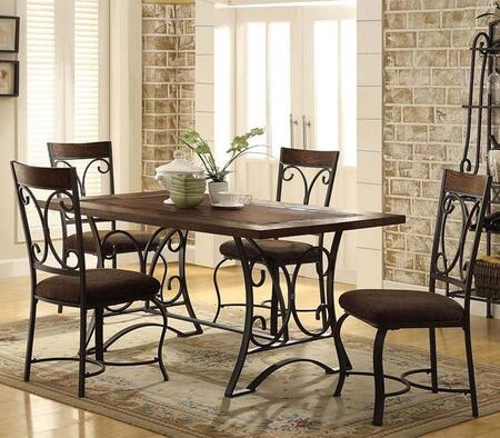 Hakesa Collection 72250CSET 5 PC Dining Room Set with Dining Table + 4 Side Chairs in Antique Black and Cherry
