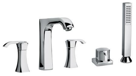 11109-40 Two Lever Handle Roman Tub Faucet and Hand Shower With Arched Spout  Flash Black