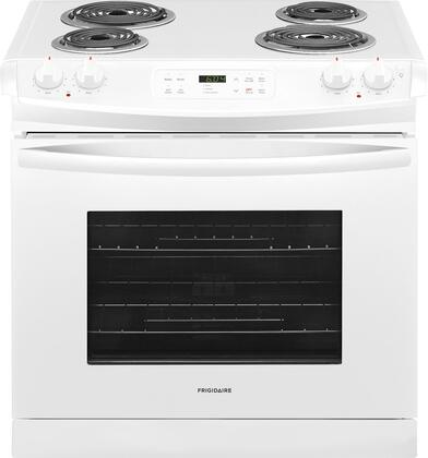 """FFED3016TW 30"""" ADA Compliant Drop In Electric Range with 4.6 cu. ft. Capacity  4 Coil Elements  Self-Clean Function  2 Racks  and Auto Oven Shut-Off  in"""