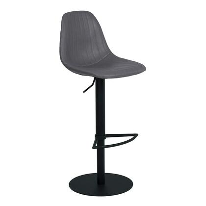 Melrose Collection LCMEBAVG Adjustable Metal Barstool in Vintage Gray Faux Leather with Black Powder Coated