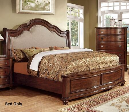 Bellavista Collection CM7350Q-BED Queen Size Bed with Nailhead Trim  Padded Fabric Headboard  Solid Wood and Wood Veneers Construction in Brown Cherry