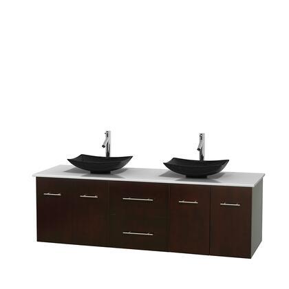 Wcvw00972deswsgs4mxx 72 In. Double Bathroom Vanity In Espresso  White Man-made Stone Countertop  Arista Black Granite Sinks  And No