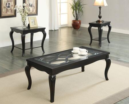 Sharlie 80905EDS 3 PC Living Room Table Set with Coffee Table + End Table + Side Table in Black