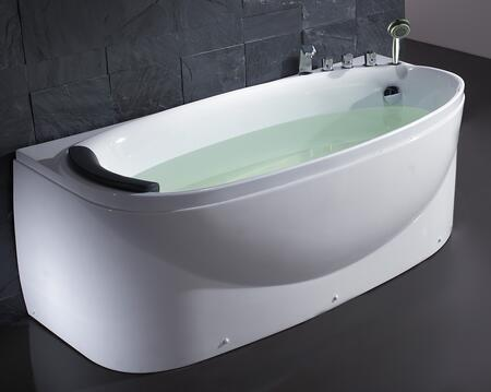 EAGO LK1104-R Right Soaking Tub with Acrylic  1 Person Capacity  Tub Filter  Hand Held Shower and  Head  Rest in