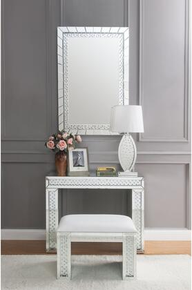 Nysa Collection 90159VSM 3 PC Vanity Set with Rectangular Vanity Desk  Rectangle Accent Mirror and Ivory PU Leather Upholstered Seat Stool in Mirrored