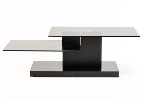 VGHB153A-OAK Modrest Dove Coffee Table with 2 Glass Shelves and High Gloss Base in Black Oak