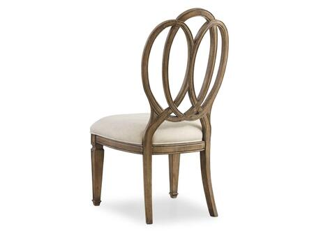 Solana Series 5291-75410 42 inch  Traditional-Style Dining Room Wood Back Side Chair with Carved Detailing  Tapered Legs and Fabric Upholstery in