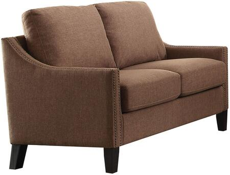 Zapata Collection 52496 58 inch  Loveseat with Track Arms  Nail Head Trim  Tapered Legs  Wood Frame  Pocket Coil Seating  Removable Cushions and Linen Upholstery in