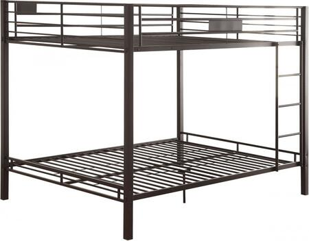Kaleb Collection 38015 Queen Over Queen Size Bunk Bed with Reversible Front Ladder  Slat System Included  Full Length Guardrail and Metal Tube Construction in