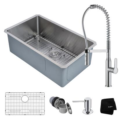 KHU100-30-1650-41CH Kitchen Combo with Handmade Undermount Stainless Steel 30 in. Single Bowl 16 Gauge Kitchen Sink and Nola Commercial Kitchen Faucet with