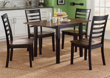 Cafe Collection 56-CD-5DLS 5-Piece Dining Room Set with Drop Leaf Table and 4 Side Chairs in Black and Cherry