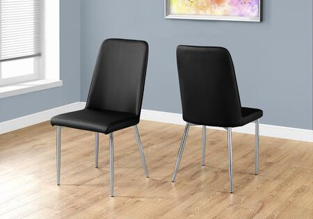 I 1034 Set Of (2) 37 Dining Chair With Leather-look Upholstery  Chrome Metal Legs And Slightly Curved Back In